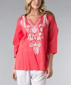 Love this Coral & White Embroidered Tunic - Women & Plus by Vasna on #zulily! #zulilyfinds