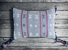 Sumba Ikat Cushion in Blue with Burgundy Stripe