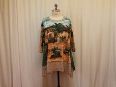 Boho Plus size top Lagenlook Wearable arts summer blouse bohemian women top Altered clothes Fairy wear upcycled clothing 3X-4X