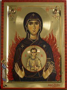 Icon of the Theotokos of the Burning Bush - Mount Athos - Byzantine Icons, Byzantine Art, Religious Icons, Religious Art, Catholic Art, Madonna, Faith Of Our Fathers, Paint Icon, Burning Bush