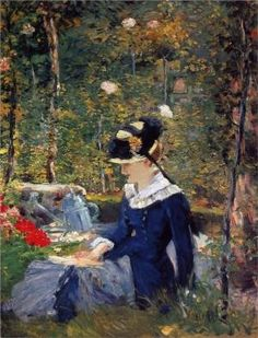 Young Woman in the Garden, Edouard Manet.  1880. It was Manet's Impressionist ambition to paint open-air pictures in such a way that `the features of the characters would melt into the vibrations of the atmosphere. The brilliant result here is obtained by a development of Manet's personal style of oil sketching in which he concerned himself with the general opposition of light and dark areas to the exclusion of half-tones. This was not exactly by Tasha_N