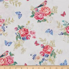Michael Miller Tweet La Vie Metallic White from @fabricdotcom  From Michael Miller, this cotton print is perfect for quilting, apparel and home decor accents. Colors include shades of pink, turquoise, purple, blue, coral, teal, green, yellow and white with gold metallic accents.