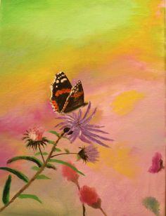 Welch zarte Liebeserklärung des Schmetterlings an die Blüte - dieses Bild wurde als Geburtstagsgeschenk für den Liebsten in der www.kreativmanufaktur.com gemalt.