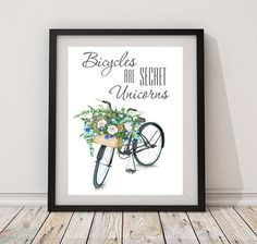Bicycles are secret unicorns print bicycles basket positive nursery print floral printable wall art decor room bicycle art poster green