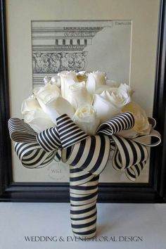 Beautiful Ivory Silk Rose Bouquet with Brooch Embellishment and Luxury Black & Ivory Stripe Wrap. Everything about this bouquet screams perfection! Striped Wedding, Nautical Wedding, Floral Wedding, Wedding Flowers, Gold Wedding, Wedding Black, Purple Wedding, Design Floral, Deco Floral
