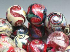SJC Lampwork 17 red handmade dichroic & silver glass round beads ~SRA~ USA~ #sjclampwork