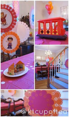 Daniel Tiger decoration ideas - mount character printables on pretty paper (use doilies or cut from Cricut)