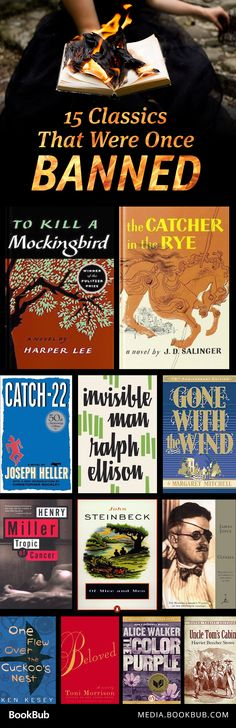 15 classic books that were once banned, including Of Mice and Men by John Steinbeck.<<<well time to be a little rebel. As rebellious as I can get I Love Books, Good Books, Books To Read, My Books, Book Suggestions, Book Recommendations, Reading Lists, Book Lists, Reading Books