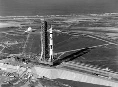 The Apollo 11 Saturn V nears the end of its trip to the launchpad