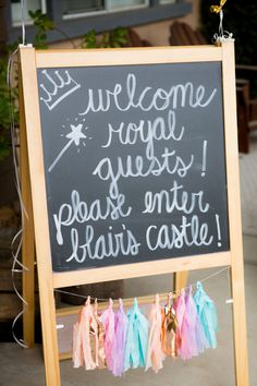 Welcome Royal Guests Princess Party Chalkboard SignYou can find Princess party and more on our website.Welcome Royal Guests Princess Party Chalkboard Sign Princess Birthday Party Decorations, Disney Princess Birthday Party, Princess Theme Party, Prince Birthday, Cinderella Birthday, Tea Party Birthday, 4th Birthday Parties, 5th Birthday, Birthday Crowns