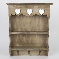 Small Shabby Chic Wall Hanging Shelf Display Unit Storage Shelves Hooks