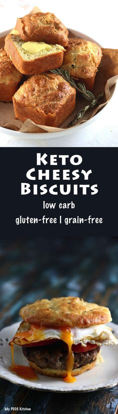 My PCOS Kitchen - Keto Cheesy Biscuits - These low carb gluten-free biscuits are made with almond flour, sour cream and cheese! They are perfect for breakfast or a delicious snack! #keto #lowcarb #glutenfree #biscuits #lchf #ketogenic #cheesy #breakfast #bread #grainfree via @mypcoskitchen