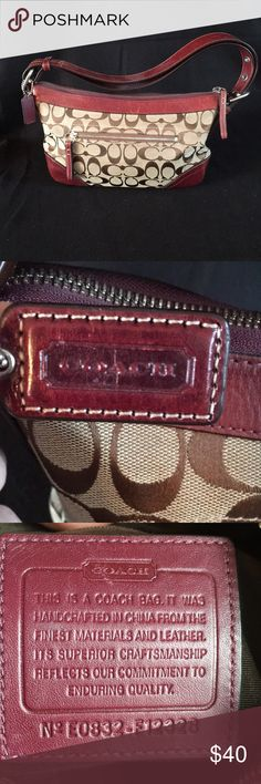 Purse Coach brown and burgundy purse. Coach Bags Mini Bags