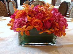 Hot Pink And Orange Wedding Centerpiece Rose Bouquet Roses