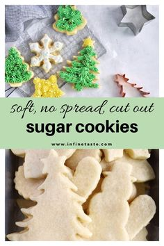 Soft, no spread cut out sugar cookie recipe with my favorite buttercream frosting! Perfect for christmas or any holiday! Roll Out Sugar Cookies, Cut Out Cookies, Sugar Cookies Recipe, Cookie Recipes, Xmas Recipes, Christmas Sugar Cookie Recipe, Holiday Cookies, Christmas Treats, Christmas Cactus