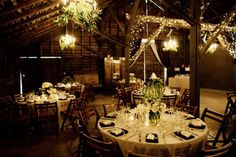 Candlelit barn wedding