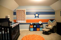 Orange and Blue baby boy nursery Stripes painted wall