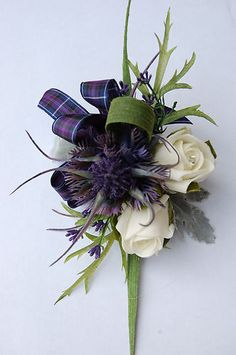 A Spiky Thistle, Heather, Rose & Pride of Scotland Corsage, tartan bow, weddings