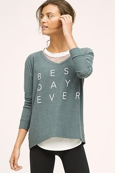 it's totally the best day ever when you're wearing this comfy light pullover. a relaxed style, this super easy piece looks great with everything from yoga pants to cute floral skirts.