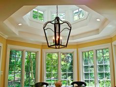 Beautiful idea for the dining room. Window Glazing, Sunroom, Chandelier, Dining Room, Windows, Ceiling Lights, Doors, Dream Houses, Conservatory