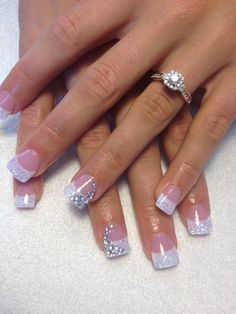 Wedding nails by Cathy Heine @ Curl Up and Dye Salon in Branson, MO