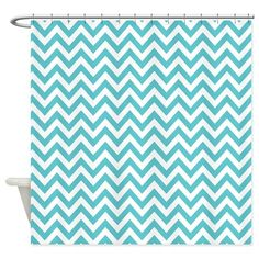 Turquoise and White Chevron Shower Curtain on CafePress.com