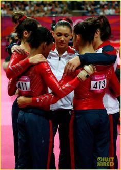 USA gymnasts Jordyn Webeer, McKayla Maroney, Gabby Douglas, Alexandra Raisman and Kayla Ross hug after the vault competition in the women's gymnastics team final. Description from pinterest.com. I searched for this on bing.com/images