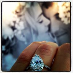 Pear Halo Engagement Ring by #Whiteflash