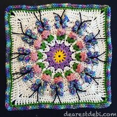 "Crochet Butterfly Garden Afghan Block, free crochet pattern for 12"" square by Dearest Debi. Includes photo tutorial."