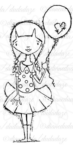 Hold On Tight Girl with Balloon Digital Stamp Printable