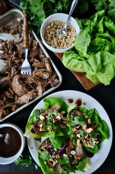 Asian Lettuce Wraps with BBQ Pulled Pork and Sugar Free BBQ Sauce Dishes To Go, Side Dishes, Bbq Pork Shoulder, Asian Lettuce Wraps, Healthy Snacks To Make, Pulled Pork, Snack Recipes, Ethnic Recipes, Sugar Free