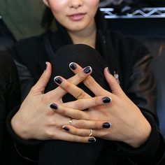 Jin Soon Choi debuted a dark gray polish from her upcoming Fall 2014 collection with Tess Giberson backstage and used it to create a nontraditional French manicure tipped with Kookie White (available Spring Source: Jin Soon Black Nail Polish, White Nails, Black Nails, Silver Nail, Black Silver, Black White, Nails Now, How To Do Nails, Fun Nails