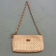 """Gold The Sak purse Beautiful gold purse with 26"""" chain link strap.  Red satin lining.  One inside zip pocket and two open pockets.  10.5"""" wide and 5.5"""" tall.  Never used. NWOT.  Excellent condition! The Sak Bags"""