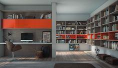 Office Mandarino Caixas: 15mm MDP Branco Frentes: 18mm MDF Lacca Color Shine Mandarino Tamponamento: Piacenza | Branco Puxadores: Quadrilha laranja