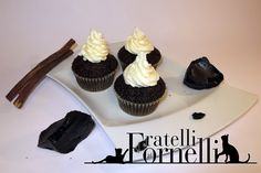 Black velvet #cupcakes with #liquorice and #Philadelphia #frosting. You can't resist these black-hearted treats! #yummy #redvelvet - Fratelli ai Fornelli