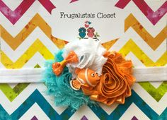 Beautiful Nemo Headband- Teal, White & Orange chiffon flowers with a Nemo accent on a White headband (Baby,Toddler,Childrens, Girl)