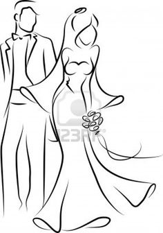 Silhouette of bride and groom, background Stock Photo - 11808995