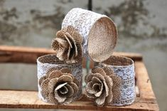 Gorgeous Burlap Napkin Ring!  Burlap and lace napkin rings sold in a 3 pack.  The ring base is constructed with tight weave burlap and artfully decorated with lace and a burlap rose.  On sale NOW!