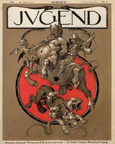 Centaur & other beasts. Cover of Jugend magazine via… Jugendstil Design, Southwest Art, Flash Art, Famous Art, Magazine Art, Magazine Covers, Vintage Comics, Fantastic Art, American Artists