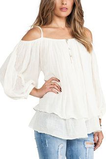 Cold Shoulder Long Sleeve Blouse with Layered Details