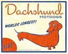 Dachshund vintage hot dog label art version 2.  Thinking of getting this for my kitchen!