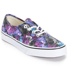 Let your style blossom wit hteh purple and blue rose print covered upper built atop a durable rubble outsole made with a vulcanized construction and Vans waffle tread for grip.