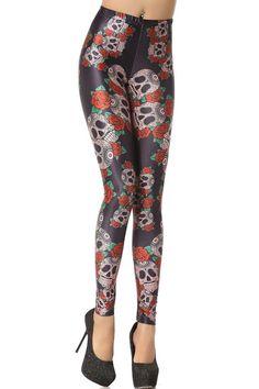 Rose and Skull Graphic Leggings - OASAP.com