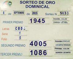 Loteria de Panama: Resultados sorteo de oro dominical Nº 5033 del domingo 6 de Septiembre 2015.