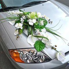 BRIDAL CAR big decoration for wedding car white tones