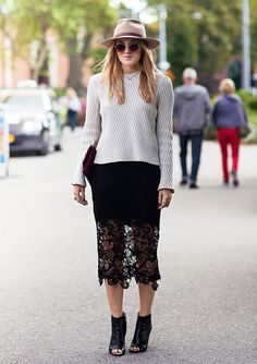 Ribbed sweater paired with a lace skirt