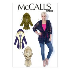 McCall's 7333 Sewing Pattern - Misses' Tie-Front Jackets with Hood