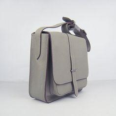 Top Replica Hermes Men's Messenger Bag In Grey Clemence Leather