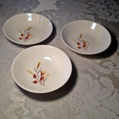 Thanksgiving ready vintage dessert bowls in Autumn Harvest by TST @Etsy