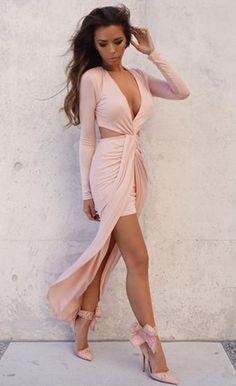 $34.99 Cut Out Drape Slit Long Sleeve Maxi Dress
